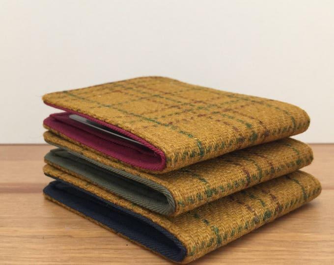 Mens Slim Minimalist Wallet in Vintage Plaid Wool