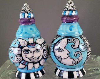 Sun and Moon Art - Hand Painted Ceramic / Pottery Salt and Pepper Shakers - by Artist Cindy Couling