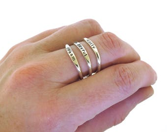Stackable Name Ring, dainty name ring, personalized ring with upper and lower case letters, mom ring, stacking ring