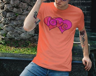 70s Vintage Design Love Shirt Mothers Day Tee Shirts With Pink Red Heart Hippie Unisex Tshirt Womens Mens Tees