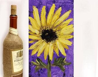 Sunflower Painting, Yellow Flower, Violet, Purple Back, Sunflowers, Winjimir, Home Decor, Design, Gift, Wall Art, Flower Painting, Floral,
