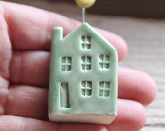 Ceramic Miniature Pale Green House with Yellow Moon - Ready to Ship