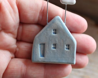 Ceramic Miniature Light Blue House with Clouds - Ready to Ship
