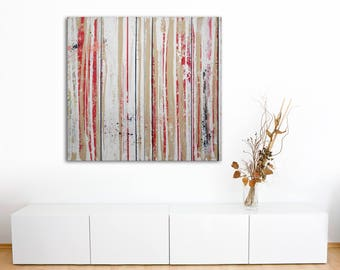 "ORIGINAL Abstract DIPTYCH Painting ""Linear Context"" by Lisa Carney, Modern Art, Minimalist, Stripes, Geometric, Contemporary, White, Red"