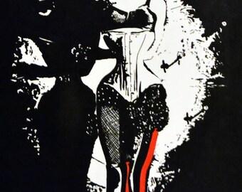 "Knife Throwers Assistant Burlesque Art Print 6x4"""