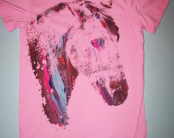 Crying Horse t-shirt, womens horse t-shirt, multicolor print, silkscreened t-shirt, OOAK t-shirt, pink t-shirt, 1AEON multicolor print, S