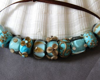 Elizabeth Creations BAHAMAS SANDS artisan lampwork handmade glass beads Sra