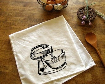 Vintage Mixer Kitchen Towel Red Baking Tea Towels CUTE Kitchen Towels  Screen Print Retro Indie Housewares