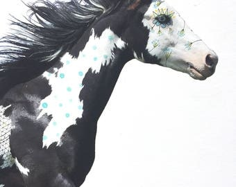 Painted Horse- Original Drawing on a Digital Image of a Horse