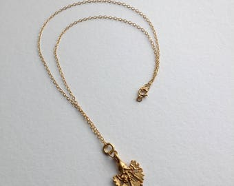 Gold Delicate Flower Charm on 14K Gold-fill Necklace