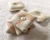 Hand-Embroidered Mini Lavender Sachets, Set of 3