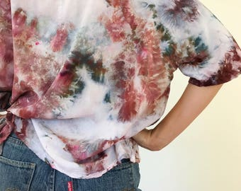 Ready to Ship Hand Dyed V-Neck Blouse in Smoke Bush, Bat Wing, Anna Joyce, Portland, Or