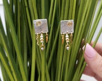 Silver & Gold Modern Metal Earrings, Handcrafted Abstract Post Earrings, Gift For Her, Statement Dangle Jewelry - Bali Earrings by Jon Allen