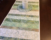 Green Batiks  reversible quilted table runner