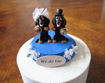 FREE ship ltd time... Dachshund dogs Wedding Cake Topper, dog, clay, pawsnclaws, hand made, whimsical, interactive, we do too, rings,