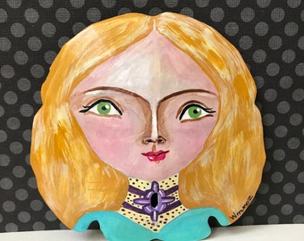 Blonde Hair Green Eyed Girl - Original Sand Dollar Art - Vintage Style Cute Fashionable
