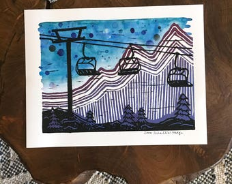 LIFT ME to the MOUNTAINS - archival print made from original linocut and watercolor painting