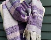 Reserved for Emily - Silk Merino Handwoven Wide Scarf in Shades of Purple