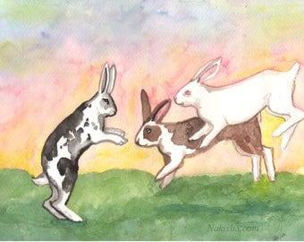 Original Watercolor Rabbit Painting - Spring Leap