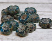 12pcs - 9mm - Flower Beads - Hawaiian Flowers - Czech Glass Beads - Czech Flowers - Hibiscus Flower - Czech Picasso Beads - (4268)