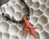 Coral branch handmade porcelain bead necklace -sale