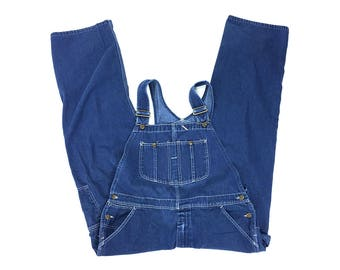 "80s Roebucks Denim Overalls / Vintage 1980 Classic Multi-Pocket Style Jeans Bib Overalls / Industrial Work Wear / 41"" Waist"