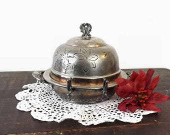 Westminster Silverplate Cheese Dome, Vintage 3 Pc Silver Plated Covered Butter Dish with Etched Flowers