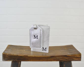 Silver Plata Leather Passport Holder and Luggage Tag Set with Personalized Initial - Travel Gift for Girlfriend Wife Sister Friend Her Woman