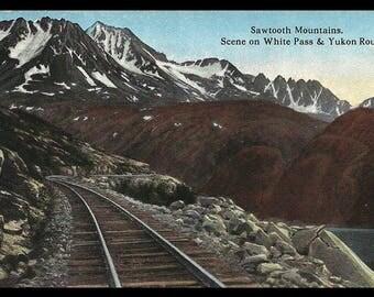 Sawtooth Mt RR Postcard Alaska Railroad 1914 White Pass Yukon Route Mile 15 AK PC