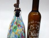 Lovely Rainbow Hand Blown Oil and Vinegar Cruet ,Bottle, Bottle Pourer  by Rebecca Zhukov