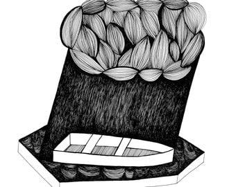 Rainstorm Print of Original Pen and Ink Illustration