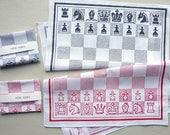 Chess Board Screenprinted Cotton Handkerchief