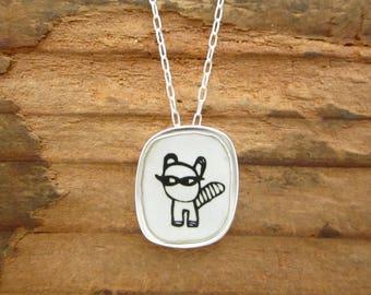 Raccoon Necklace - Sterling Silver and Vitreous Enamel Trash Panda Pendant