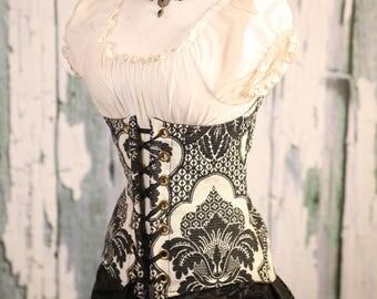 Waist 33-35 Black & White Floral Torian Corset