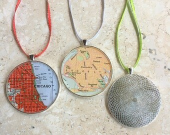 Map Ornament Custom City 50mm  Holiday or Housewarming Gift for Travelers or Christmas Gift Tree Trimmer Large Size Handcrafted