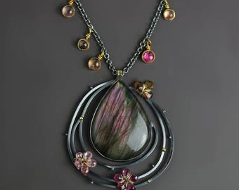 Flowers in Orbit Labradorite Pendant Necklace with Tourmalines