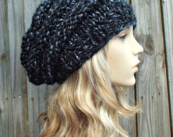 Metropolis Black and White Knit Hat Black Womens Hat - Original Beehive Beret - Black Hat Black Beret Black Beanie Winter Hat READY TO SHIP