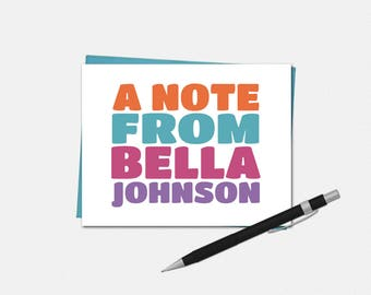 Personalized Note Cards - Bright and Bold Note Cards - Personalized Note Cards - Stationery for Her- Bright and Bold Stationery