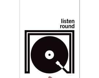 Listen Round Turntable - Art Print