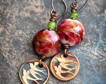 Flying Swallows. Artisan made earrings. Rustic chic earrings. Bohemian Colorful earrings. Bird earrings. Solid copper. Lampwork. Warm colors