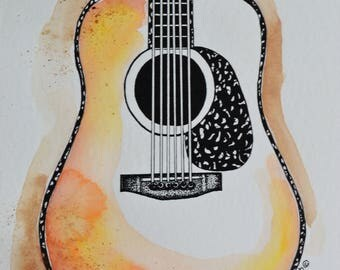 Guitar Painting, Guitar Watercolor, Guitar Art, Original Painting, Acoustic Guitar, Handpainted Guitar, Original Watercolor, Guy Gift,Guitar