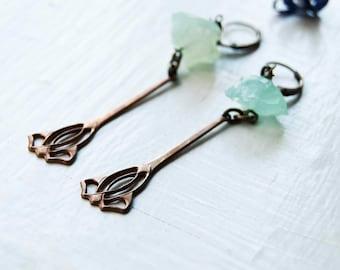 Floral Blue Agate Earrings - Tulip Drop Earrings - Raw Gemstone Earrings