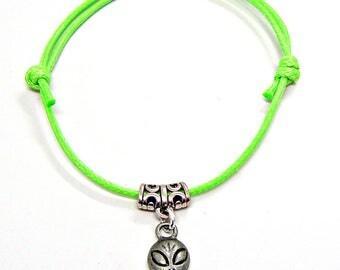 SALE Bracelet Anklet Adjustable Alien Pewter Friendship String Hippie Boho Choice of Colors 501
