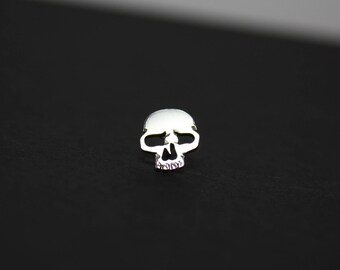 Skull Pin Hand Cut Sterling Silver Lapel Pin Tie Tack