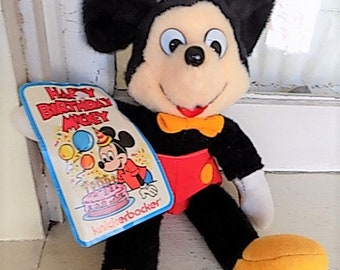Vintage Mickey Mouse Knickerbocker Birthday Plush with Tags