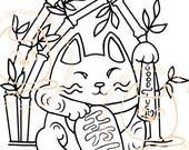 Digi Stamp Instant Download. Lucky Neko - Knitty Kitty Digis No. 59