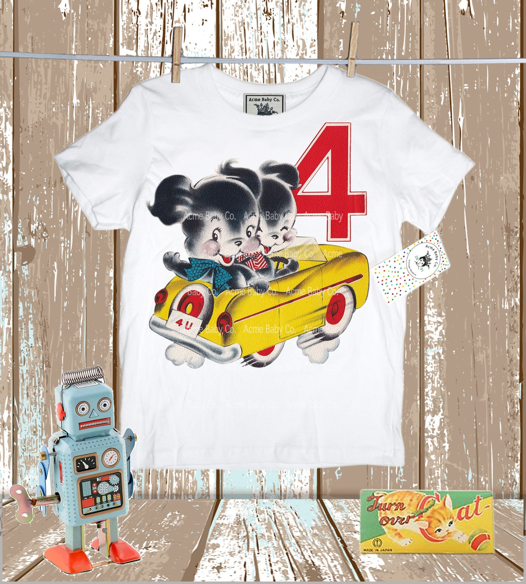 Retro Shirt Birthday Puppy Boys Vintage Puppies Fourth