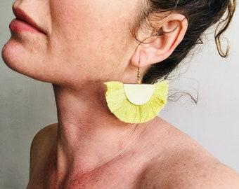 Green Fan Tassel Earrings. Thai Beach Style.