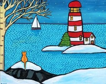 orange Tabby Cat winter snow ocean lighthouse  Shelagh Duffett -  Print