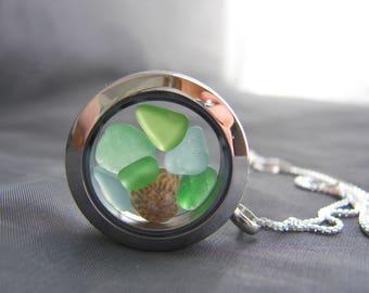 Porthole sea glass locket /  sea glass necklace  /  sea glass jewelry  /  seaglass locket /  beach glass locket /  sea glass memory locket